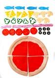 Filzpizza Filzlebensmittelspielwaren für die Kinder lizenzfreies stockfoto