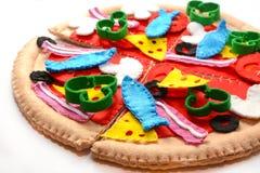 Filzpizza Filzlebensmittelspielwaren für die Kinder Stockfotografie
