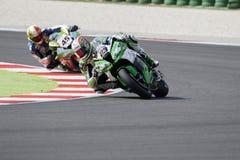 FIM超级摩托车世界冠军-自由实践3th会议 库存照片