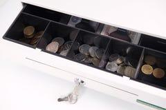 Fim aberto da caixa do dinheiro acima Foto de Stock Royalty Free