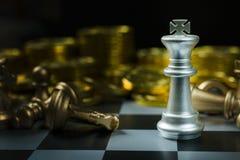 Fim abstrato da placa do jogo de xadrez acima da imagem Foto de Stock Royalty Free