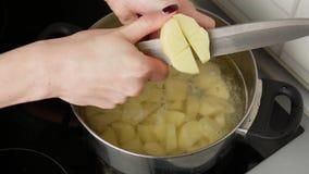 Fim acima As mãos das mulheres cortaram batatas em um potenciômetro da água a ferver filme