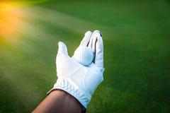 Fim acima da bola de golfe na m?o da luva de golfe com grama verde foto de stock royalty free