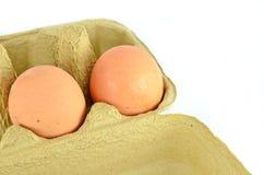 Fim-acima da caixa de ovos isolado Fotos de Stock Royalty Free