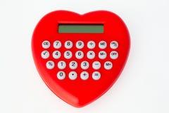 calculadora vermelha Coração-dada forma Imagens de Stock Royalty Free