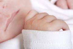 Fim acima da mão recém-nascida dos bebês Foto de Stock