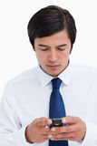Fim acima da mensagem de texto da leitura do comerciante Fotos de Stock Royalty Free