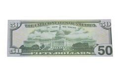 Fim acima da metade do isolado de cinqüênta dólares no fundo branco com trajeto de grampeamento imagens de stock
