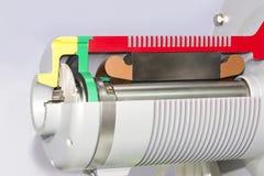 Fim acima da parte traseira do seção transversal do detalhe e da bomba centrífuga ou do ventilador do eletroímã interno para indu imagens de stock royalty free