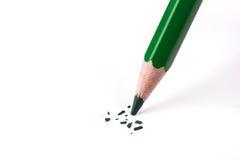 Fim acima da ruptura da cabeça do lápis da cor verde Fotos de Stock Royalty Free