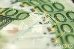 Fim-acima de 100 euro- cédulas Fotos de Stock