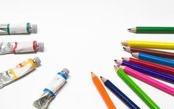Fim-acima de lápis da cor, cor de água Fotografia de Stock