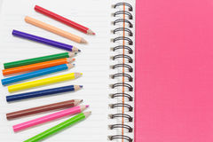 Fim-acima de lápis da cor, cor de água Fotos de Stock Royalty Free