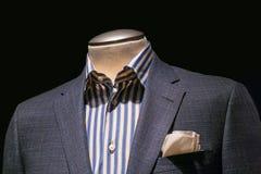 Revestimento Checkered cinzento com a camisa listrada e creme azuis & amarelos Imagens de Stock