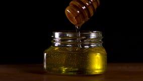 Fim acima do gotejamento saboroso do mel do dipper do mel em uma metragem saboroso do frasco vídeos de arquivo