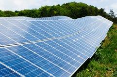 Fim acima dos painéis solares Fotografia de Stock