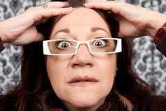 Fim acima Scared e Startled da mulher fotos de stock royalty free