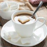 Fim acima Xícara de café com marshmallow Fotos de Stock