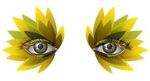 Fim artístico da composição do girassol do olho Photorealistic acima Fotografia de Stock Royalty Free