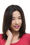 Fim asiático de sorriso da mulher acima Imagem de Stock