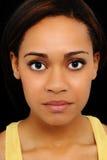 Fim bonito da mulher preta dos anos de idade vinte acima Imagem de Stock Royalty Free