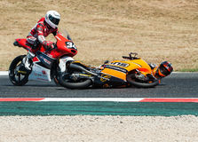FIM CEV REPSOL. MOTO 3 RACE CRASH. BARCELONA, SPAIN  JUNE 18, 2017: Moto 3 crash at FIM CEV Repsol taht celebrates at Circuit of Barcelona Catalunya Stock Photo