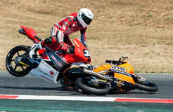 FIM CEV REPSOL. MOTO 3 RACE CRASH. BARCELONA, SPAIN  JUNE 18, 2017: Moto 3 crash at FIM CEV Repsol taht celebrates at Circuit of Barcelona Catalunya Royalty Free Stock Photo