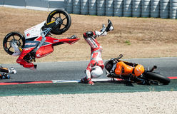 FIM CEV REPSOL. MOTO 3 RACE CRASH. BARCELONA, SPAIN  JUNE 18, 2017: Moto 3 crash at FIM CEV Repsol taht celebrates at Circuit of Barcelona Catalunya Royalty Free Stock Photography