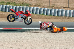FIM CEV REPSOL. MOTO 3 RACE CRASH. BARCELONA, SPAIN  JUNE 18, 2017: Moto 3 crash at FIM CEV Repsol taht celebrates at Circuit of Barcelona Catalunya Royalty Free Stock Photos