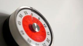 Fim clássico do temporizador da contagem regressiva da cozinha do vintage acima, permanecer de 60 minutos Imagens de Stock