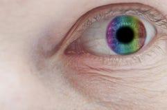 Fim colorido do olho acima Fotografia de Stock