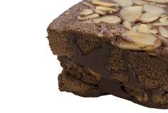 Fim da amêndoa da brownie acima do fundo Fotos de Stock Royalty Free