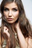 Fim da cara da mulher acima do retrato da beleza Modelo fêmea Imagem de Stock