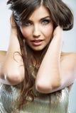 Fim da cara da mulher acima do retrato da beleza Modelo fêmea isolado Foto de Stock Royalty Free