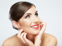 Fim da cara da mulher acima do retrato da beleza Poses modelo fêmeas Imagem de Stock
