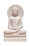 Fim da estátua da Buda isolado acima contra o branco foto de stock royalty free