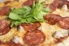 Fim da pizza do salame acima Imagens de Stock