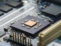 Fim da placa de circuito da alta tecnologia acima, macro conceito da tecnologia da informação Imagem de Stock