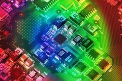 Fim da placa de circuito da alta tecnologia acima, macro conceito da tecnologia da informação fotos de stock royalty free