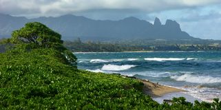 Fim da tarde, praia de Wailua foto de stock