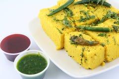 Fim de Dhokla acima Imagens de Stock Royalty Free