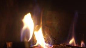 Fim de satisfa??o excelente acima do tiro na madeira que queima-se lentamente com a chama alaranjada do fogo na atmosfera acolhed video estoque