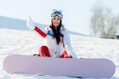 Fim de semana do desportista com snowboard imagem de stock