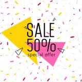 Fim de semana grande da venda, bandeira da oferta especial até 50 fora Ilustração do vetor Fotografia de Stock