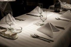 Fim de uma tabela de jantar. Fotografia de Stock