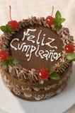 Fim dedicado do bolo de aniversário do chocolate acima Foto de Stock Royalty Free