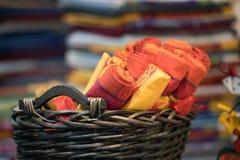 Fim diferente do tecido da tela de seda das cores acima Fotos de Stock