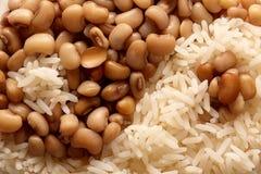 Fim do arroz e do yang do yin dos feijões acima imagens de stock royalty free