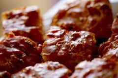 Fim do bolo da carne acima Fotografia de Stock