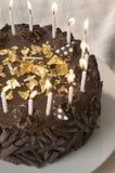 Fim do bolo de aniversário do chocolate acima Imagens de Stock Royalty Free